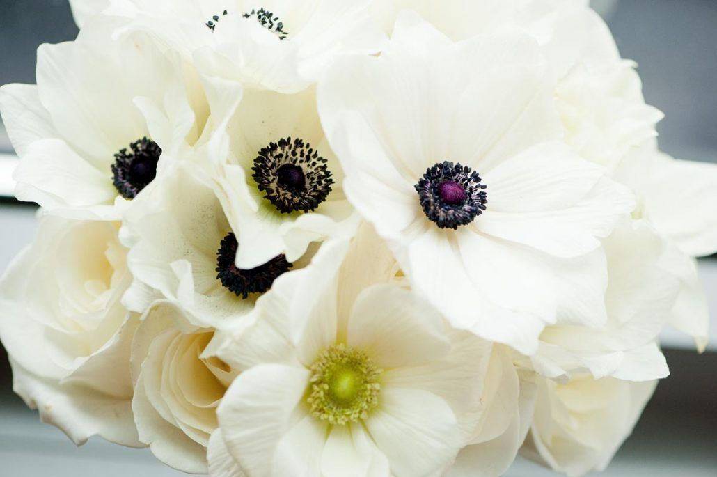 Samantha & Aaron - White Anemone Bouquet - Studio 450 - by Photo Pink Photography