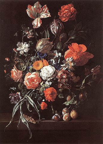 Still-Life with Bouquet of Flowers and Plum - Painting by Rachel Ruysch