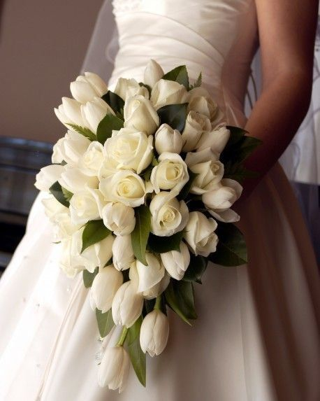 White Tulip Cascading Bouquet Weddings - via Always Fabulous Flowers