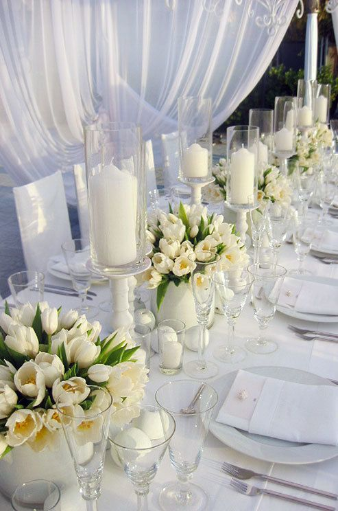 White Tulip Centerpieces - via Colin Cowie Celebrations