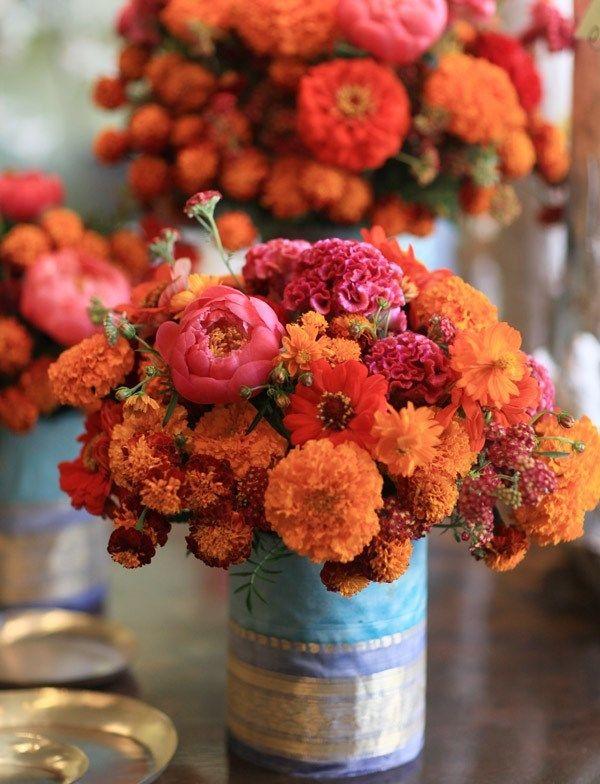 50 Shades of Orange - Wedding Inspiration - Marigold Centerpiece - via My Big Fat Indian Wedding.com