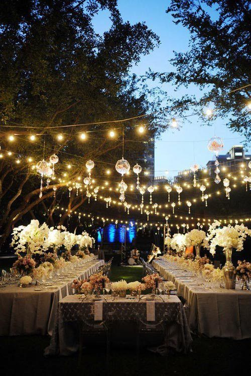 Outdoor spring wedding ideas trends by bride blossom nycs arizona barn wedding string lights canopy via pinterest junglespirit Images