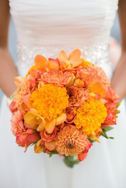 Bridal Marigold Bouquet - via Pinterest.com