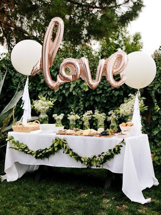 Greenery Garland Decor - Bridal Shower Display - via Pinterest.com
