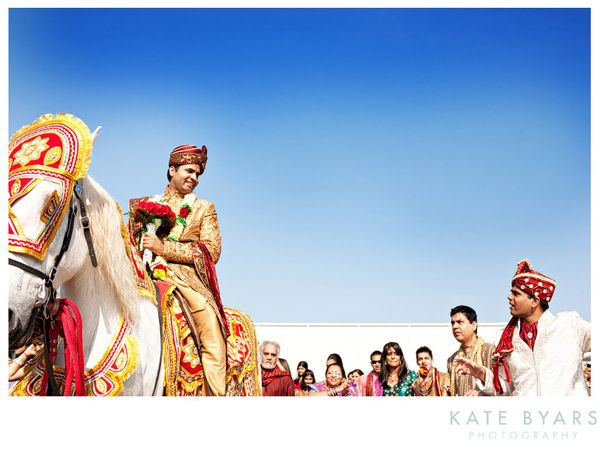 Indian Wedding - Groom - Baraat - Kate Byars Photography - via Maharani Weddings.com