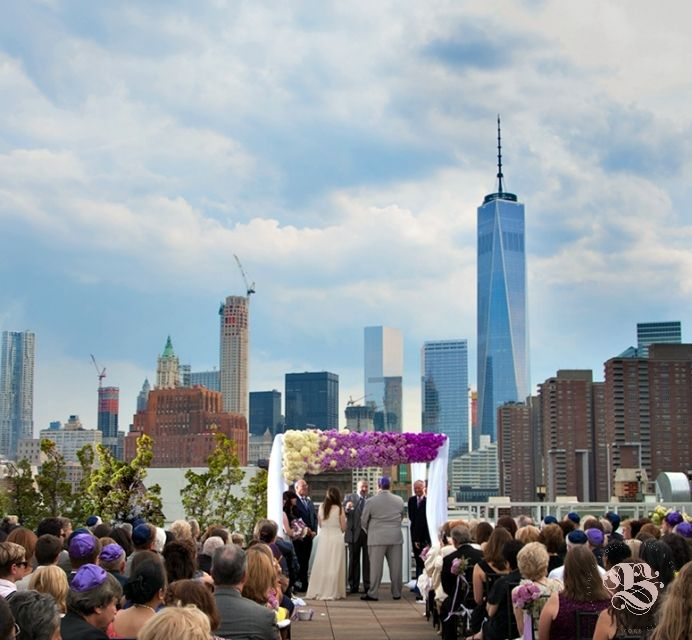 Nicole & Mark - Colorful Ombre Chuppah - Tribeca Rooftop - Photo by Shlomo Cohen Photography