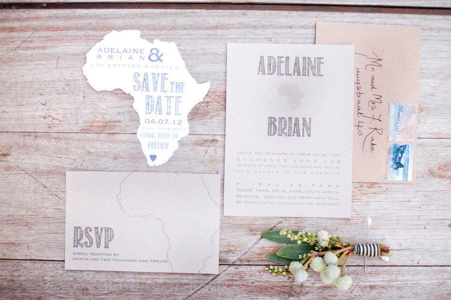 South African Wedding Save The Date Stationery Via Style Me Pretty Vault