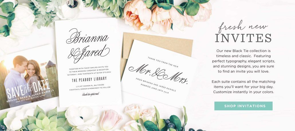 Timeless and Classic Wedding Invitations - Fresh New Invitations - via Basic Invite.com