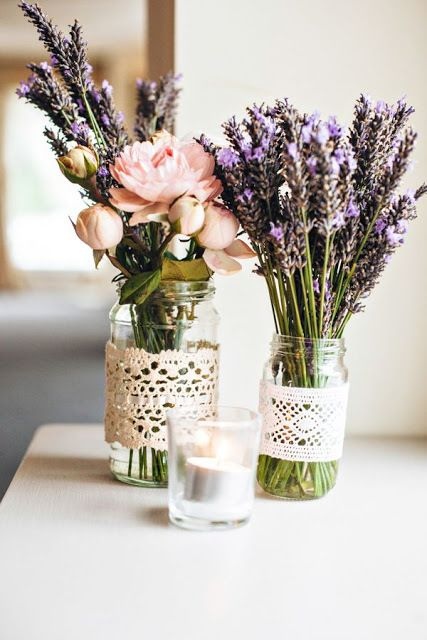 Wild Flowers - Beautiful Mason Jar Centerpieces - via Beautiful-Bridal Blogspot