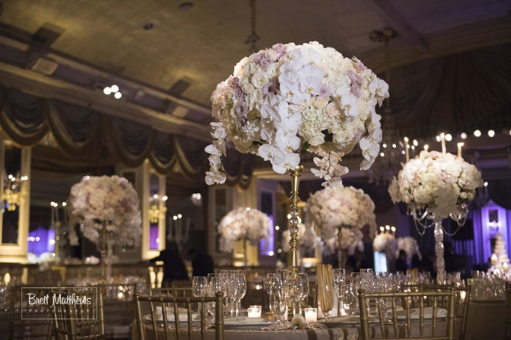 Anna & Matthew Wedding - Reception - High Centerpieces - Pierre Hotel NYC - by Brett Matthews