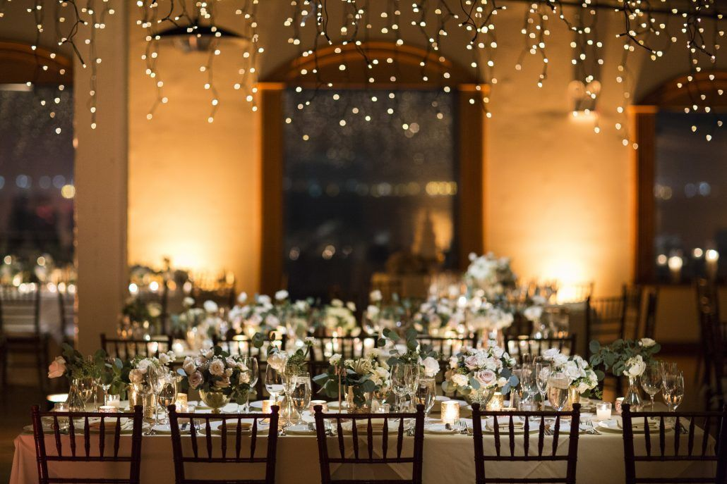 Lauren & Brett Wedding - Low Centerpiece Gold Mercury Glass Quicksand Roses Seeded Eucalyptus Ranunculus - The Liberty Warehouse