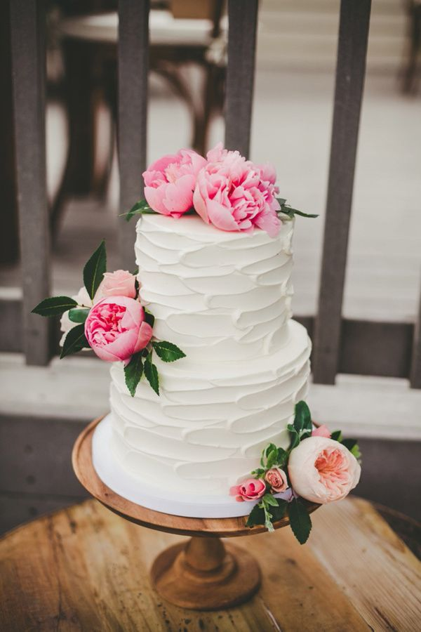 Mixed Metals Wedding - La Jolla - California - Peony Wedding Cake - Photo by Katie Nicole Photography -  via Ruffled Blog.com