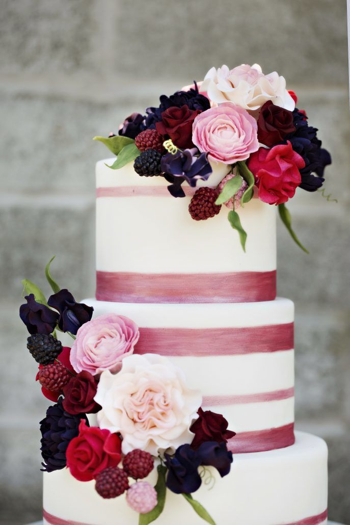 Red and Pink Rose -Dahlia Cake by A White Cake - Fornino Restaurant New York - Planned by Natalie Trento - Adeline & Grace Photography