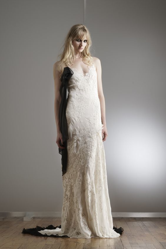 Bridal Gown - Black Accents - Elizabeth Fillmore - via WWD.com