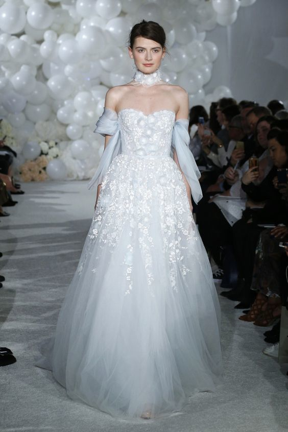 Bridal Gown - Blue and Pink Bridal Accents - Mira Zwillnger - spring 18 - via WWD.com