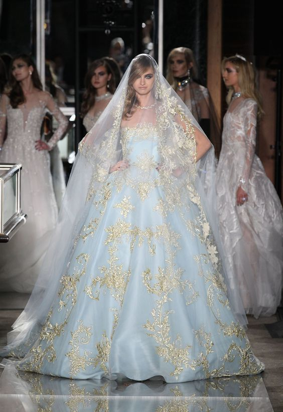 Bridal Gown - Blue and Pink Bridal Accents - Reem Acra - Spring 2018 - via WWD.com