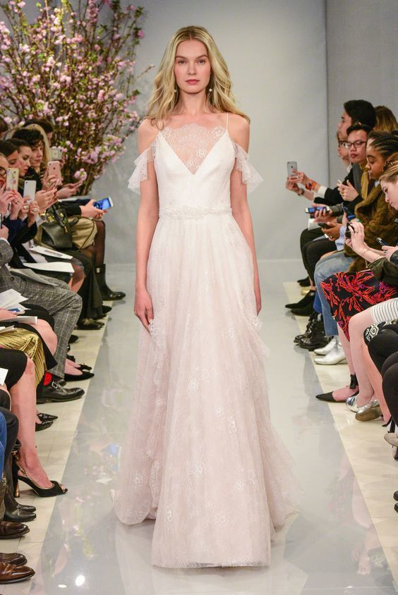 Bridal Gown - Blue and Pink Bridal Accents - Theia - Spring 18 - via WWD.com