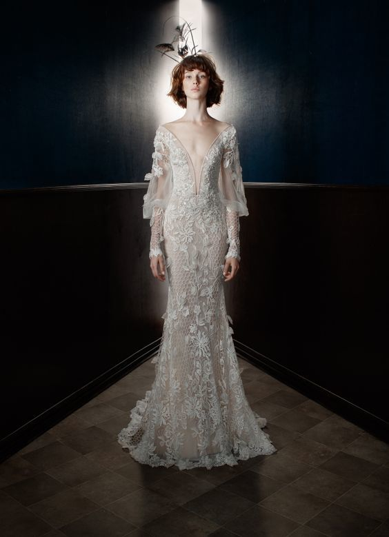 Bridal Gown - Flutter Sleeves - Collections - 2018 Spring - via WWD.com