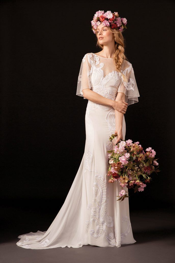 Bridal Gown - Flutter Sleeves - Temperley London - Spring 18 - via Vogue.com