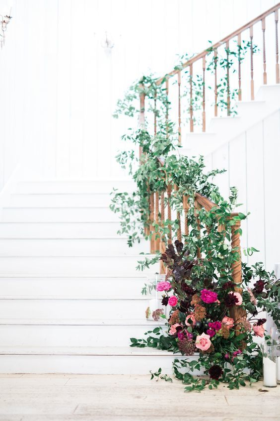 Country Wedding - Greenery Staircase - Florals - The Vault - via Style Me Pretty.com