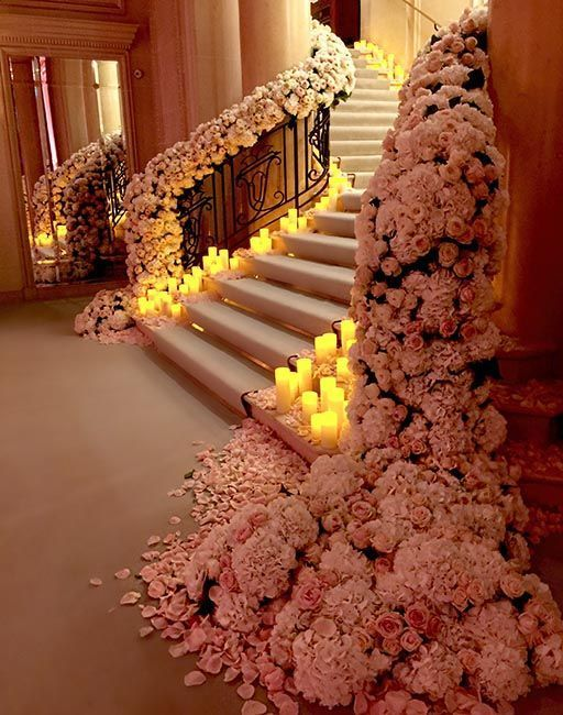 Floral Garland - Staircase - via Pinterest.com