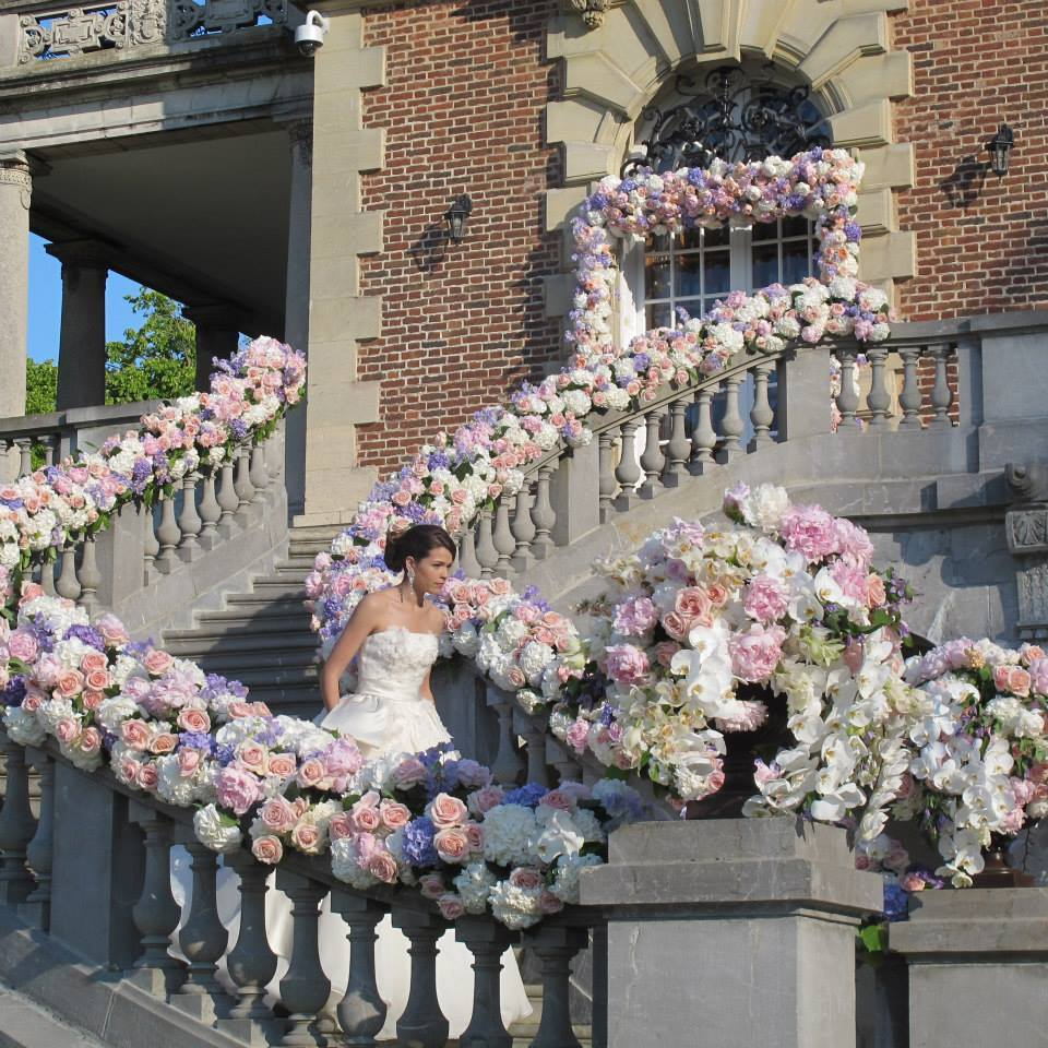 Flower Garland - Main Staircase - Floral Design Master Class - Bride and Blossom