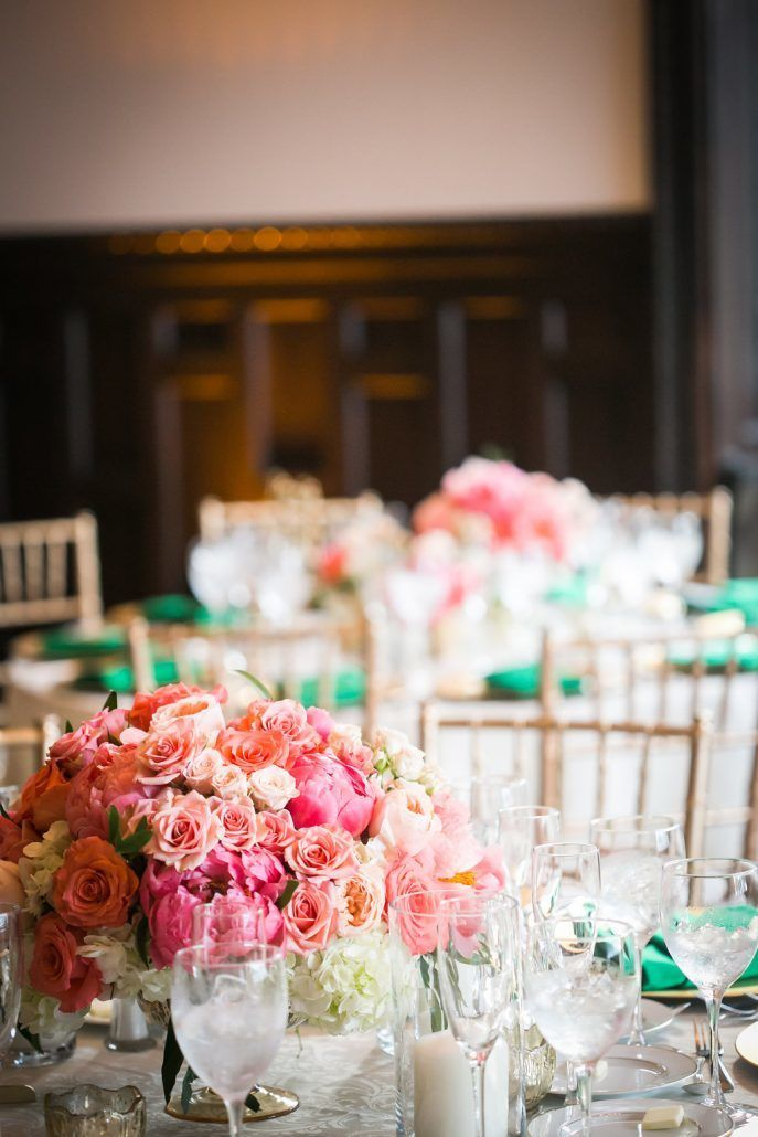 Kerry & Amit - Coral and Peach Low Centerpiece - Hempstead House -By Kamila Harris