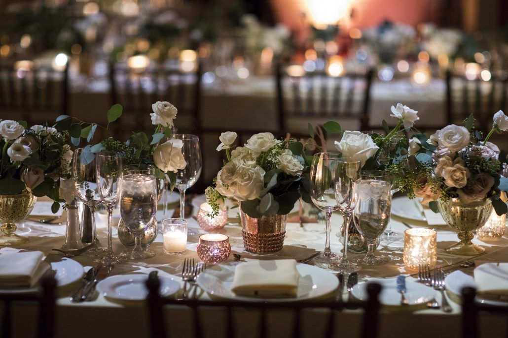 Lauren & Brett Wedding - Liberty Warehouse Brooklyn - Low Centerpiece Gold Mercury Glass - Quicksand Roses - Seeded Eucalyptus - Ranunculus
