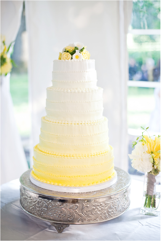 Limoncello Inspired Yellow Wedding Cake - Crowns, Balloons and Ombre Blog - via Erin Ever After. BlogSpot.com