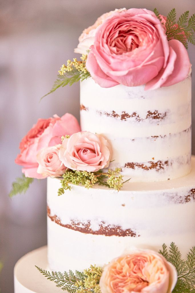 Naked Cake - Delicious Rustic Semi Naked Cake - Pink Fizz Inspiration - via Elysia Root Cakes.com