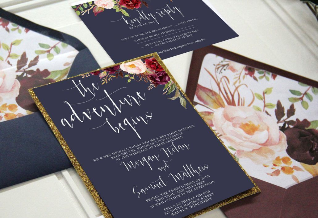 Navy and Marsala Wedding Invitation Suiite - Wild Berry Smash Cocktail Inspiration - Unicaforma Shop - via Etsy.com