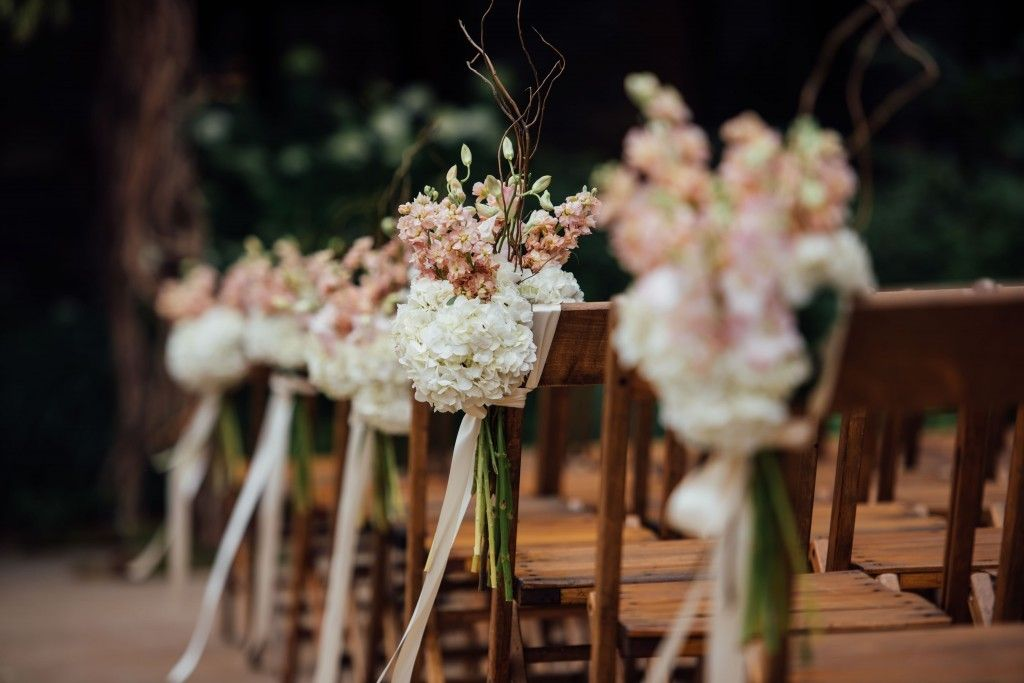 Stephanie and David - Blue Hill at Stone Barns - Chair Florals - Photo by Ryan Brenizer