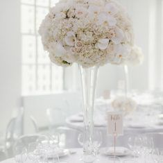 Alice & Chris Wedding - High Centerpiece White Hydrangea Roses Orchids - 620 Loft and Garden NYC - Photography by Samm Blake