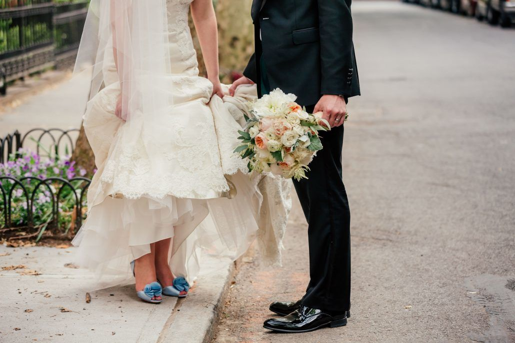 Andrea & John wedding - Bridal Bouquet - Blue Wedding Shoes - The Liberty Warehouse Brooklyn - Photo by Popography