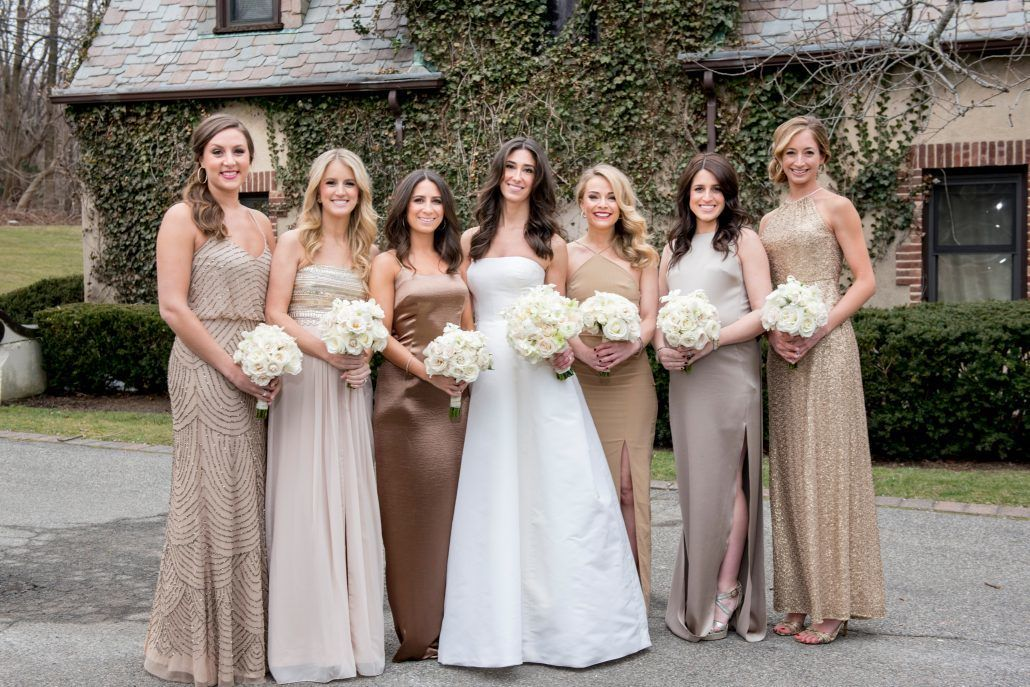 Danielle & Noah Wedding - Cold Spring Country Club NY - Bride - Bridesmaids - Rose Bouquets - Photography by Brett Matthews