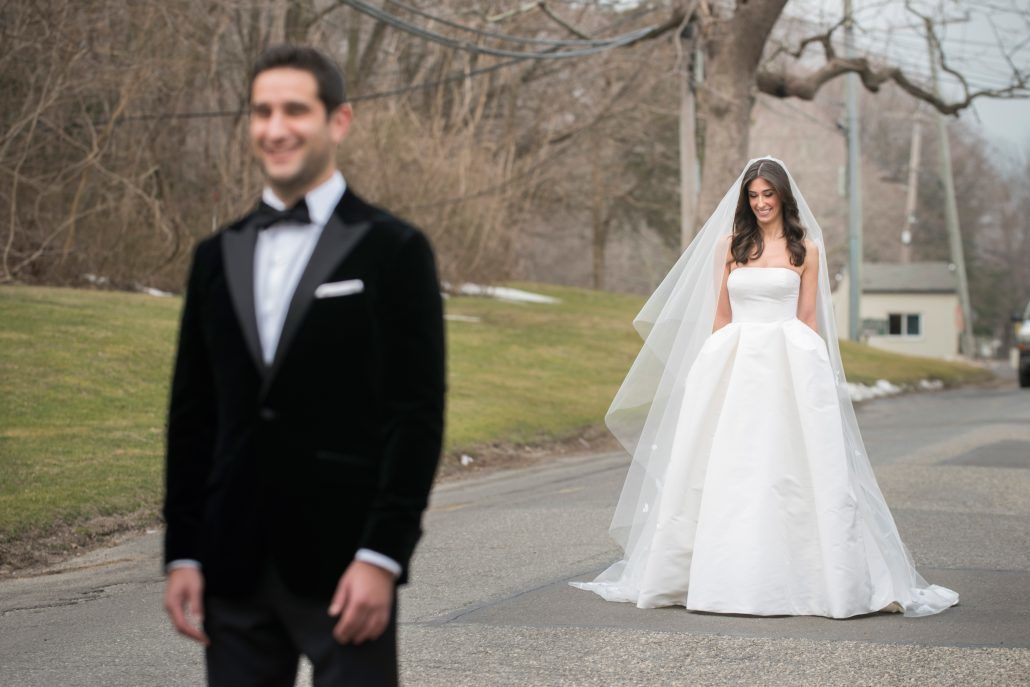 Danielle & Noah Wedding - Cold Spring Country Club NY - Bride & Groom First Look -Photography by Brett Matthews