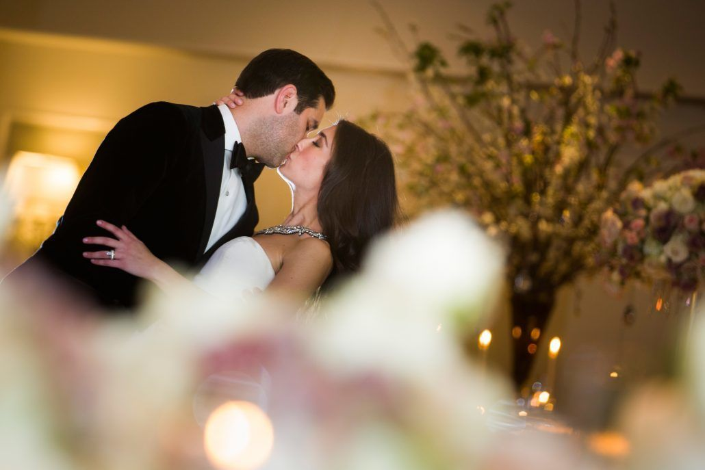 Danielle & Noah Wedding - Cold Spring Country Club NY - Bride & Groom Kiss - Photography by Brett Matthews