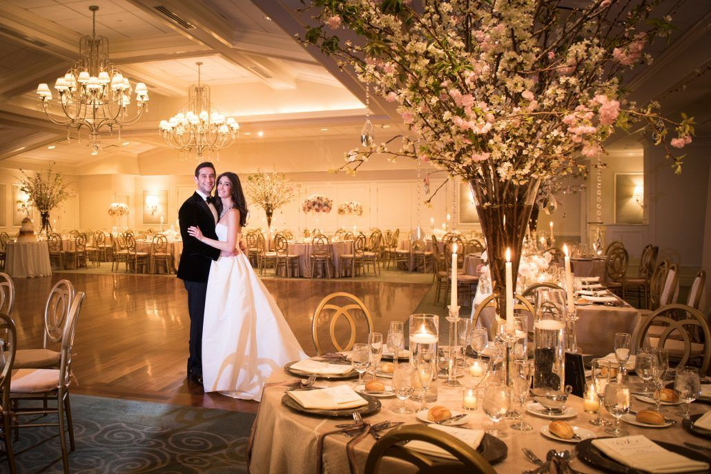 Danielle & Noah Wedding - Cold Spring Country Club NY - Bride & Groom Reception Room Cherry Blossom -Photography by Brett Matthews
