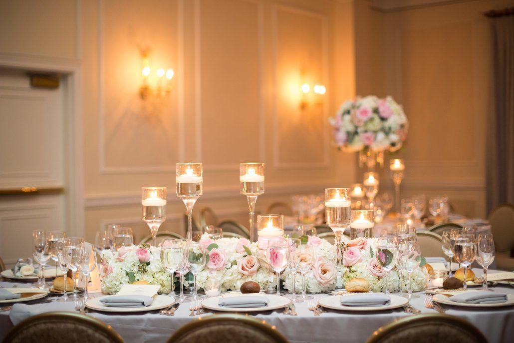 Deborah & Geraldo - Low Centerpiece - Floating Stemmed Candles - Pearl River Hilton -by Cole and Kiera Photography