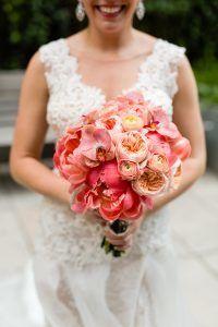 Jacqueline & Gary - Bridal Bouquet - orchid rose peony ranunculus - Trump Soho - Casey Fatchett Photography