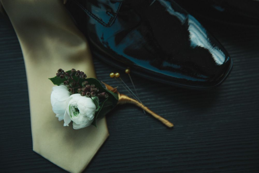Karla & Franklin - Ranunculus Boutonniere - Manhattan Penthouse - by Our Wedding Way (2)