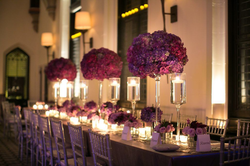 Lindsay & Aaron - Purple and Lavender Hydrangea High Centerpiece - Castle on the Hudson - by Agaton Strum (7)