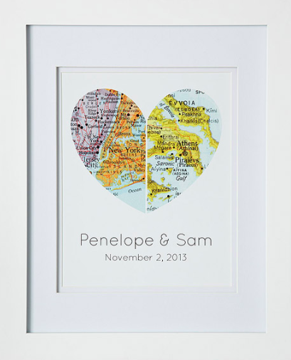 Map of Our Hearts - Created by Melissa Schwall - via Uncommon Goods.com