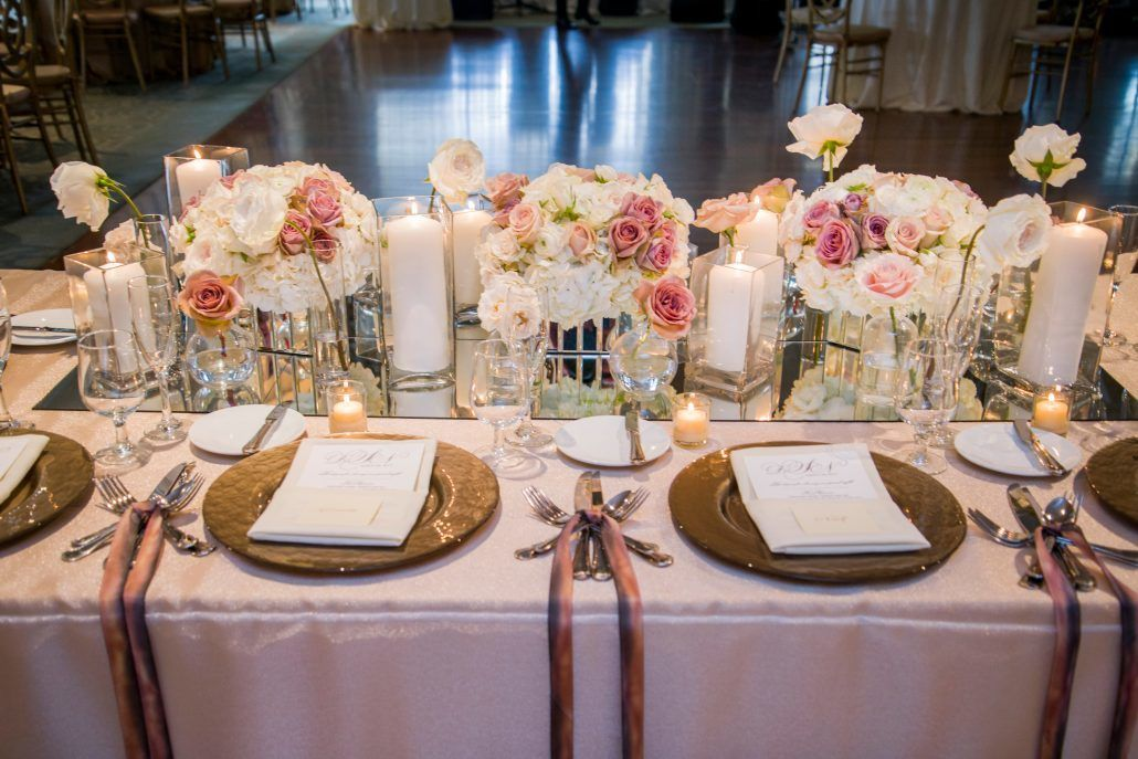 Danielle & Noah Wedding - Cold Spring Country Club NY - Head Table Roses Hydrangea Candles -Photography by Brett Matthews