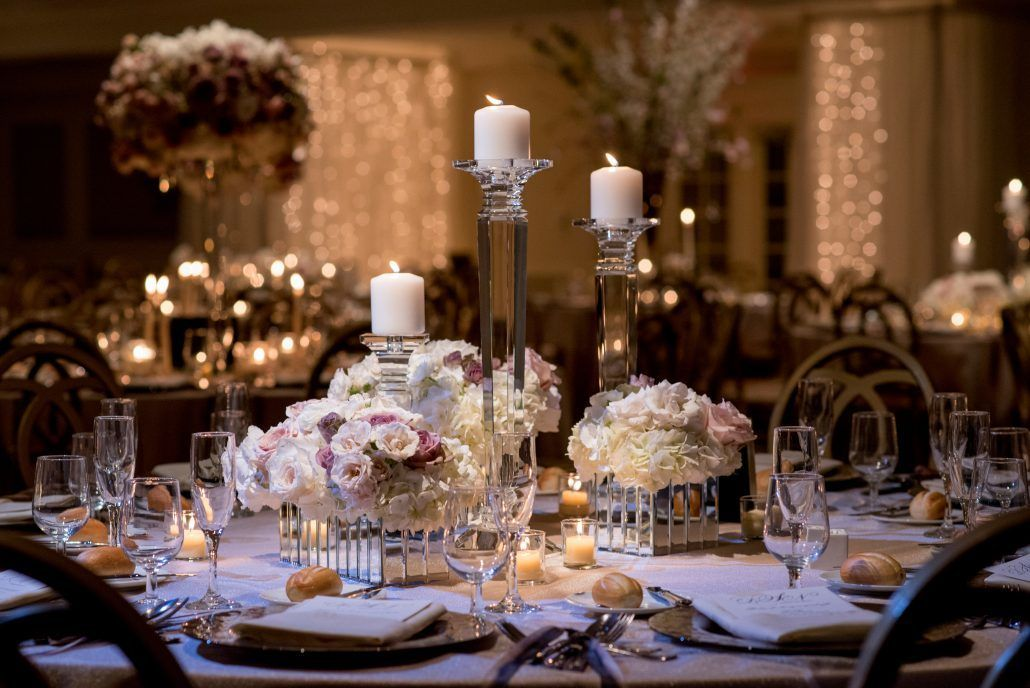 Danielle & Noah Wedding - Cold Spring Country Club NY - Low Centerpieces Roses Hydrangea Mirror Vases Crystal Candleholders -Photography by Brett Matthews