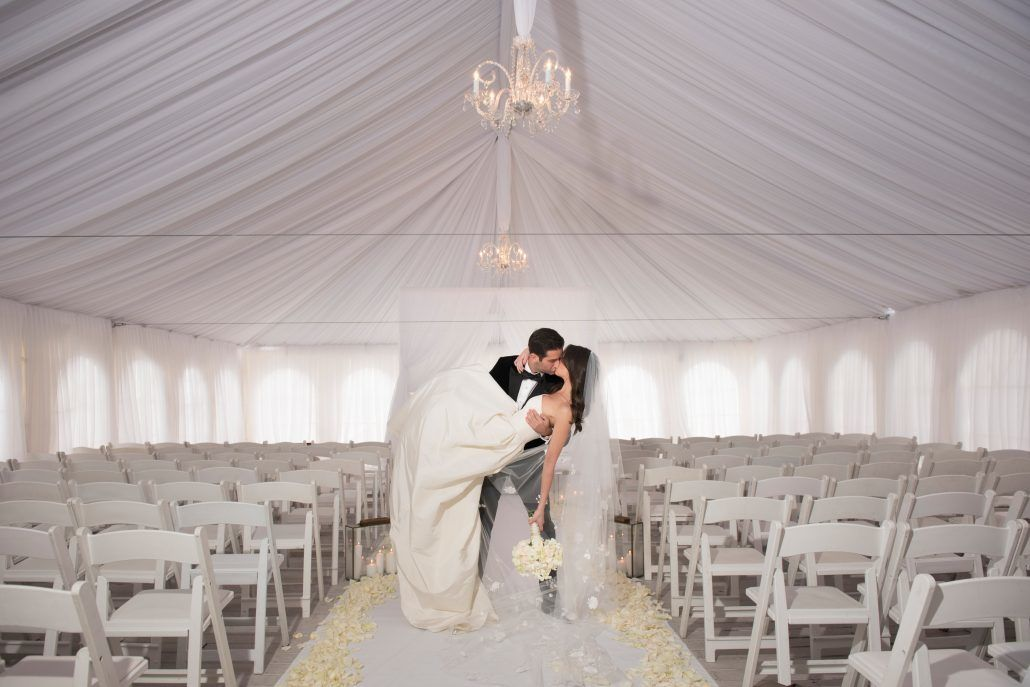 Danielle & Noah Wedding - Cold Spring Country Club NY - Draped Chuppah - Bride & Groom -Photography by Brett Matthews