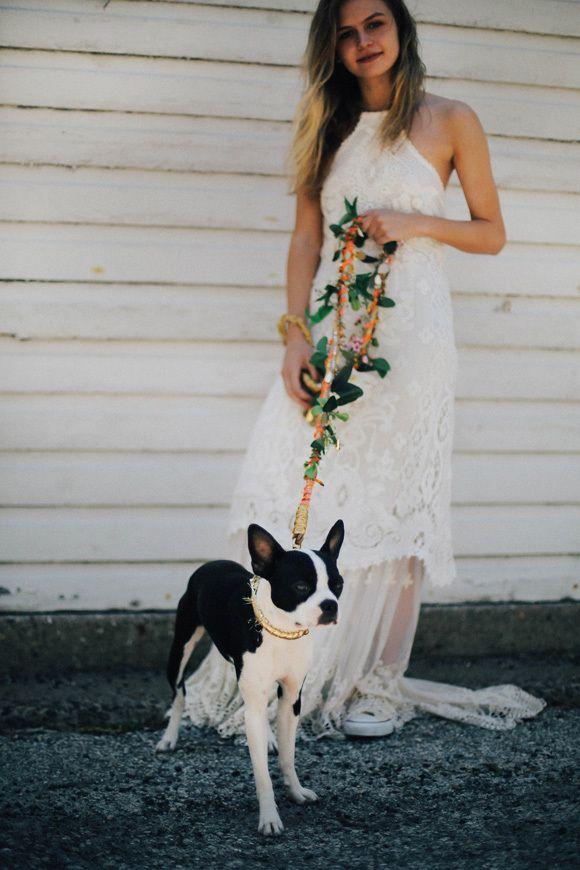 Wedding - Bride - Dog - Floral Leash - via blog.freepeople.com