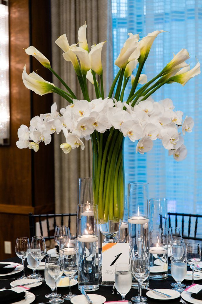 Jacqueline & Gary - High Centerpiece - lily orchid - Trump Soho - Casey Fatchett Photography