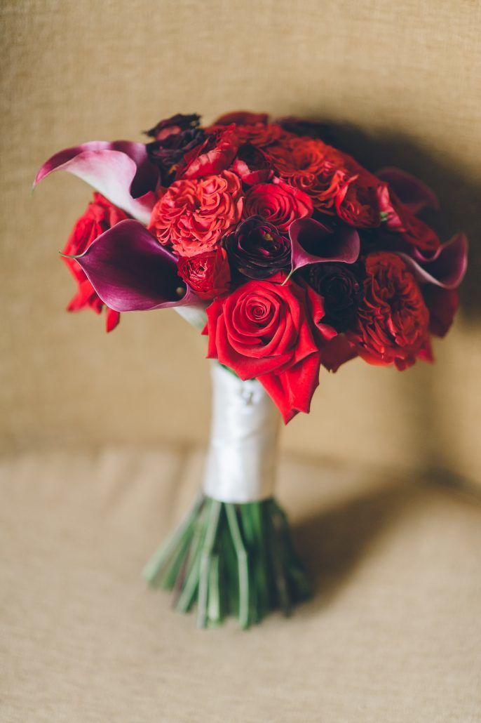 Jamie & John Wedding - Red Ranunculus Charlotte Bacarra Garden Rose Plum Calla Lily Bouquet - Liberty Warehouse - by Ben Lau Photography