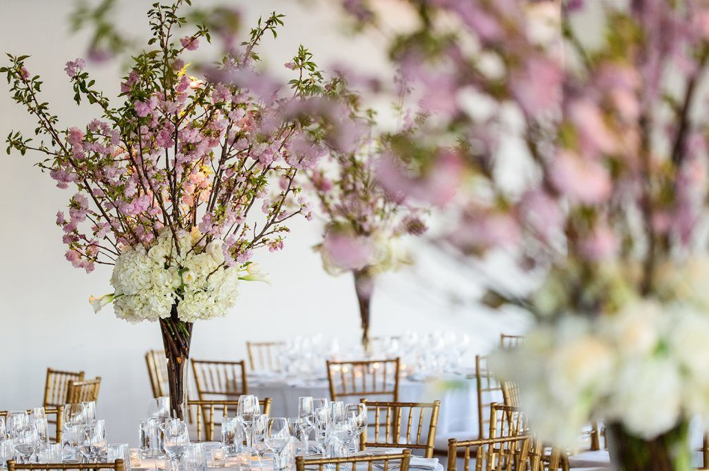 Jessica & Sean Wedding - High Centerpiece - Cherry Blossom Hygrangea Tibet Rose Mini Calla - Maritime Parc NJ - Photography By Daniel Moyer